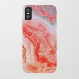 Luxury LIVING CORAL Agate Marble Geode Gem iPhone Case