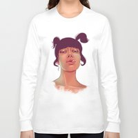 cigarette Long Sleeve T-shirts featuring Girl cigarette by Danit Rotart