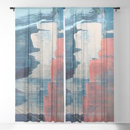 Deep Waters: a vibrant, minimal, abstract painting in pinks and blues by Alyssa Hamilton Art Sheer Curtain
