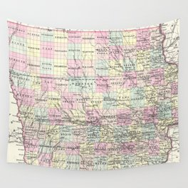 Vintage Map of Iowa (1855) Wall Tapestry