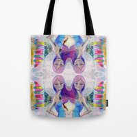 jane davenport Tote Bags featuring Perfect Little - Kaleidascope version by Jane Davenport by Jane Davenport