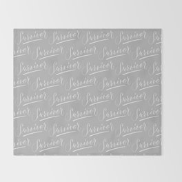 Survivor Modern Calligraphy Hand Lettering Design Throw Blanket