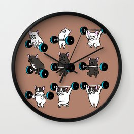 OLYMPIC LIFTING  FRENCH BULLDOG Wall Clock