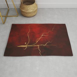 Kintsugi Red #red #gold #kintsugi #japan #marble #watercolor #abstract Rug