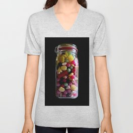 Colorful candies in a glass jar on a black background Unisex V-Neck