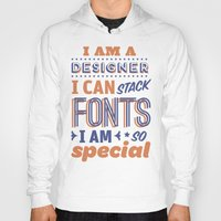 font Hoodies featuring Font Stacker by Designer Posters