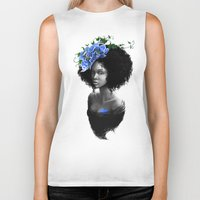 afro Biker Tanks featuring Blossom afro by Masha