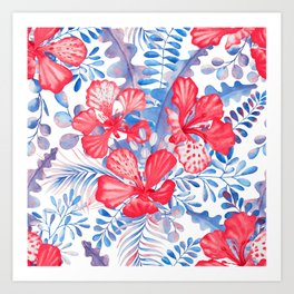 Summer red tropical flowers with blue leaves Art Print