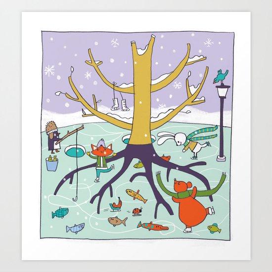 animals winter fun Art Print