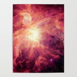 Orion NEbula Burgundy Magenta Poster