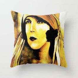 Lady in Fur. Throw Pillow