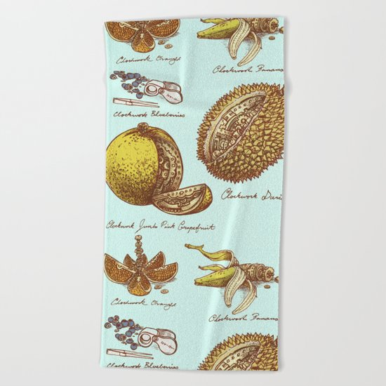 Steampunk Fruit  Beach Towel