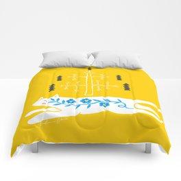 Folk cat on yellow Comforters