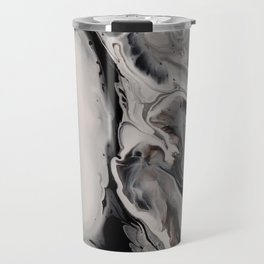 Silver Streak - Fluid Acrylic Abstract Flow Painting Travel Mug