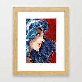 Sapphire haired girl Framed Art Print