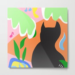 Colorful Tropical Decor And Cat Metal Print