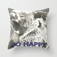 koala Throw Pillows featuring Koala  by PureVintageLove