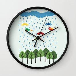 Birds in the rain. Wall Clock