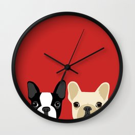 Boston Terrier & Cream French Bulldog RED Wall Clock
