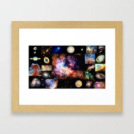 Space Galaxy Nebula Collage Framed Art Print