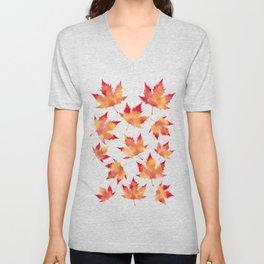 Maple leaves white Unisex V-Neck
