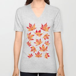Maple leaves white Unisex V-Neck