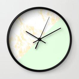 White Marble Pastel Orange and Light Green Geometric Wall Clock