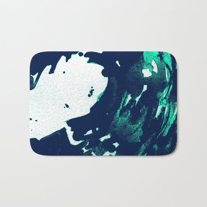 Navy Blue, Black, Blue, Bold Green Wave Bath Mat