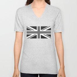 UK Flag 1:2 scale in black & white Unisex V-Neck