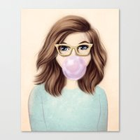 bubblegum Canvas Prints featuring Bubblegum by kristen keller reeves