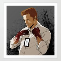 dexter Art Prints featuring Dexter by Elena Casagrande