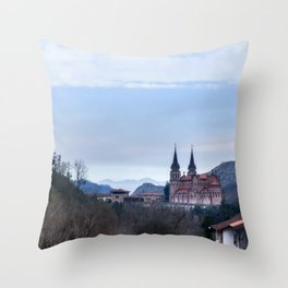 Basilica of Covadonga in the mountains, Spain Throw Pillow