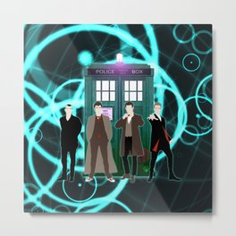 The Doctors And Tardis Metal Print