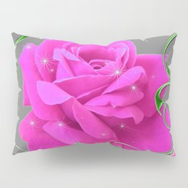 ROMANTIC CERISE PINK ROSE GREY ART RIBBONS Pillow Sham