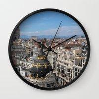 madrid Wall Clocks featuring Madrid Espana by Eduardo Doreni