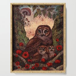 Tawny Owlets Serving Tray