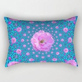 100 PINK ROSES & TURQUOISE ART Rectangular Pillow