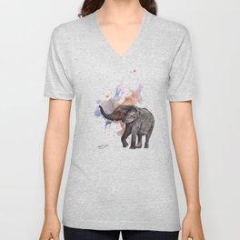 Dancing Elephant Painting Unisex V-Neck