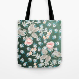 Green Flowers Pattern Tote Bag