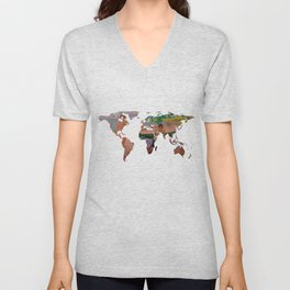 World Map Silhouette - Undressing at The Beach Unisex V-Neck