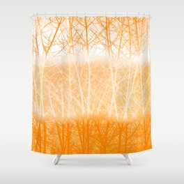 Frosted Winter Branches in Dusty Orange Shower Curtain