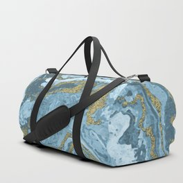 Gold Waves on Blue Duffle Bag