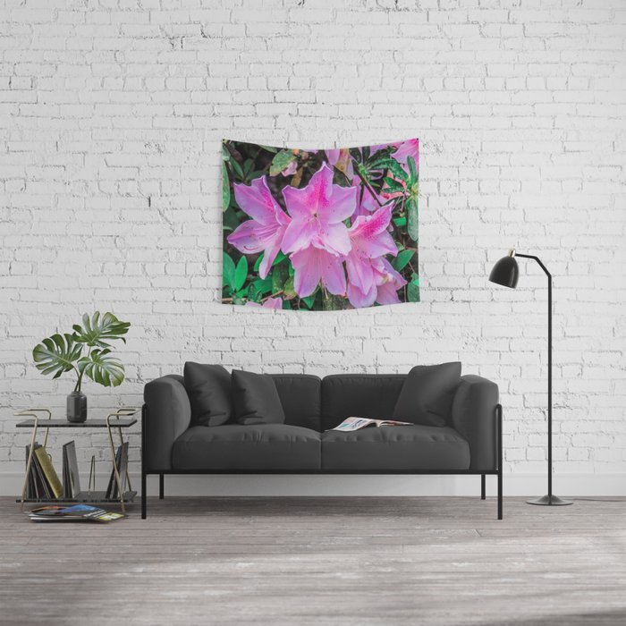 Pink Flowers in the Sun Wall Tapestry