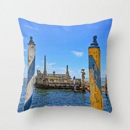 Vizcaya Barge Adventures Throw Pillow