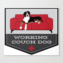 Working Couch Dog Badge Canvas Print