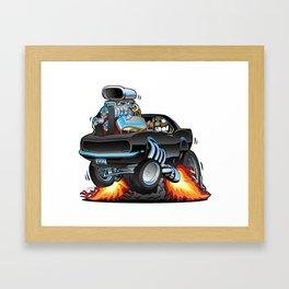 Classic Sixties American Muscle Car Popping a Wheelie Cartoon Illustration Framed Art Print