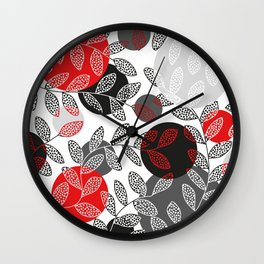 Round of Black Leaves Wall Clock