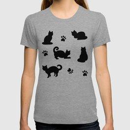 Black Cats and Paw Prints Pattern T-shirt