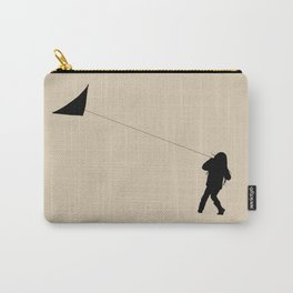 Little Girl with a Kite in Winter Grass Carry-All Pouch