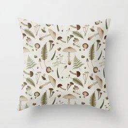 Mushroom pattern 1 white Throw Pillow